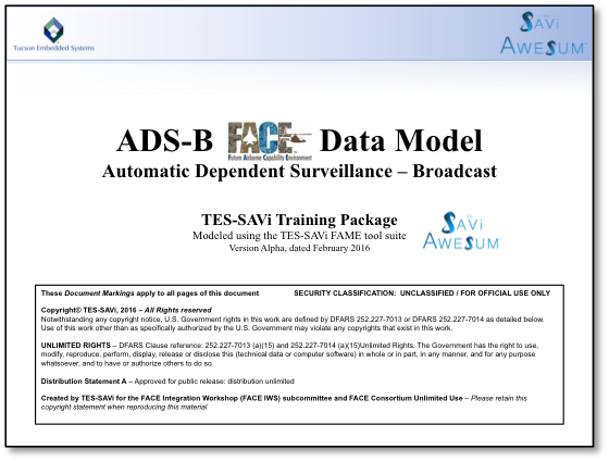ADS-B FACE Data Model