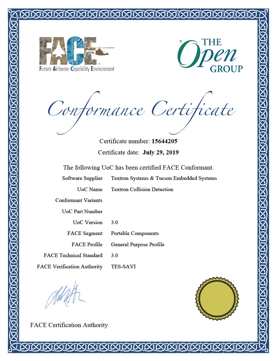 TES FACE Conformance Certificate #15644205 to v3.0